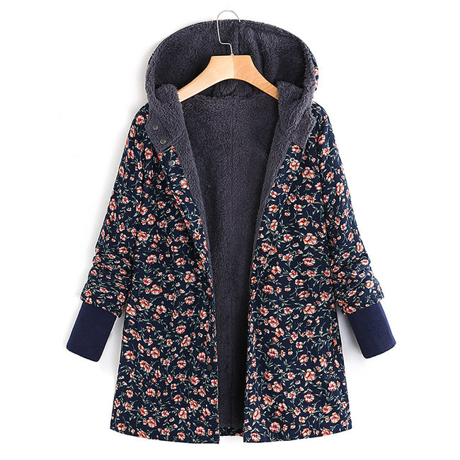 Floral Printed Hooded Long Sleeve Fleece Autumn Winter Coat - MagCloset