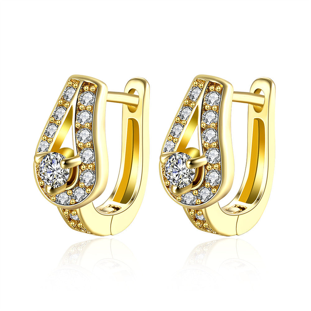 Popular Crystal Set Gold Plated Waterdrop Ear Clips Earrings