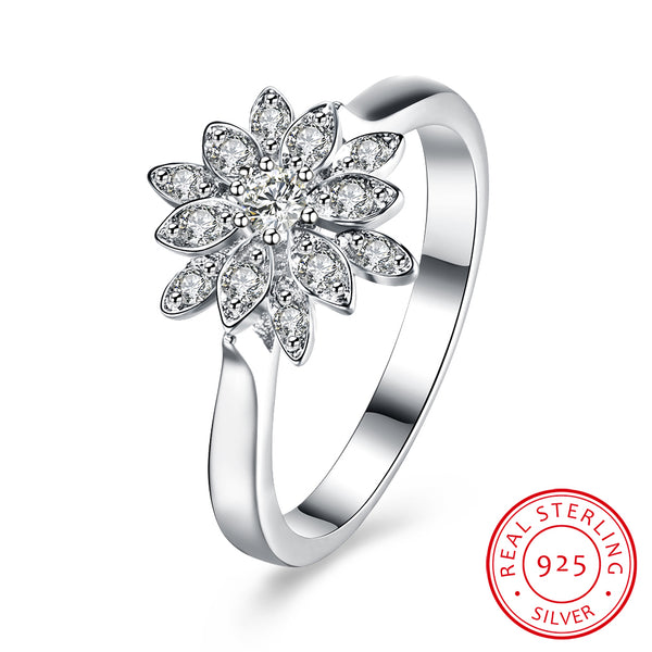 Waterlily With Zircon 925 Sterling Silver Ring