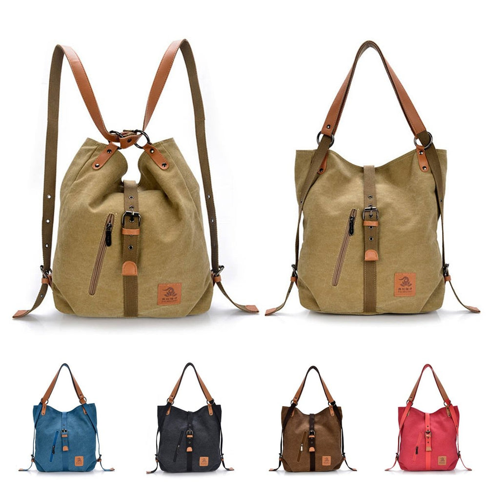 Women Canvas Casual Multifunctional Microfiber Leather Large Capacity Handbag Shoulder Bags Backpack