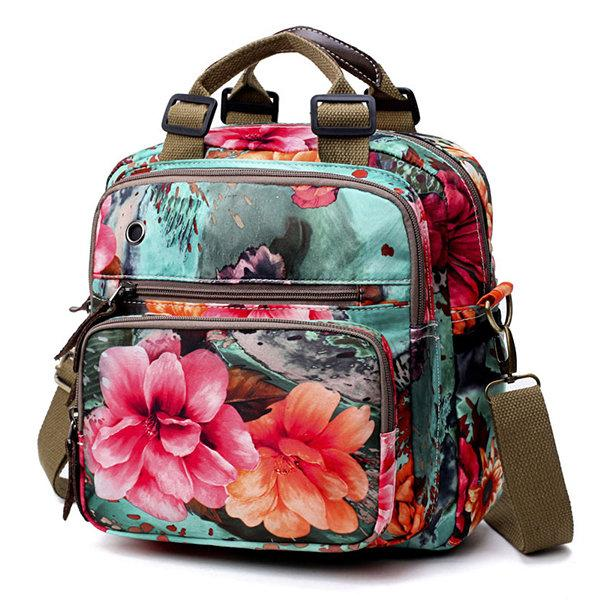 National Style Outdoor Flower Pattern Shoulder Bag Crossbody Bag Mommy Backpack