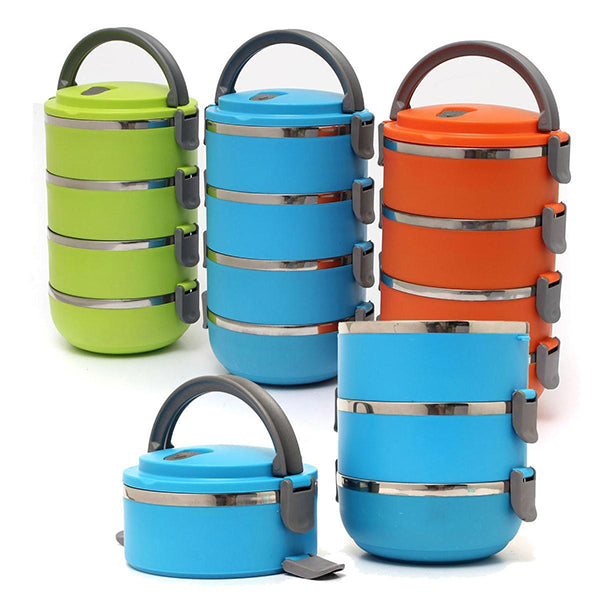4 Layers Stainless Steel Lunch Box Portable Bento Food Containers Dinnerware Set