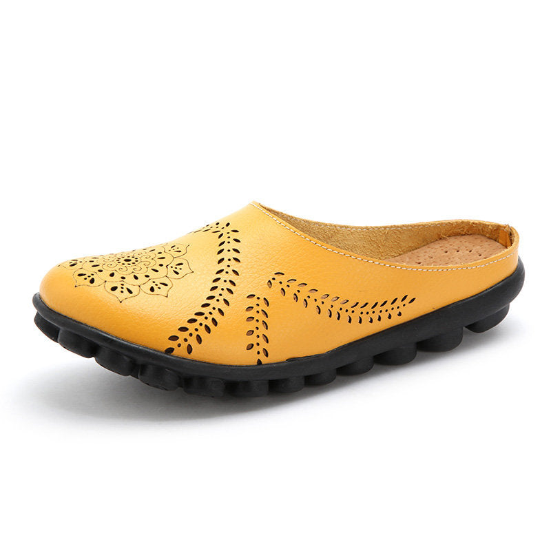 Flower Hollow Out Casual Leather Flat Backless Loafers - MagCloset