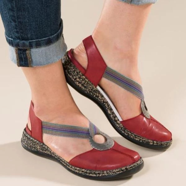 Women Artificial Leather Soft Flat Shoes Sandals