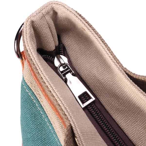 Canvas Contrast Color Striped Handbag Shoulder Bags Crossbody Bags For Women - MagCloset