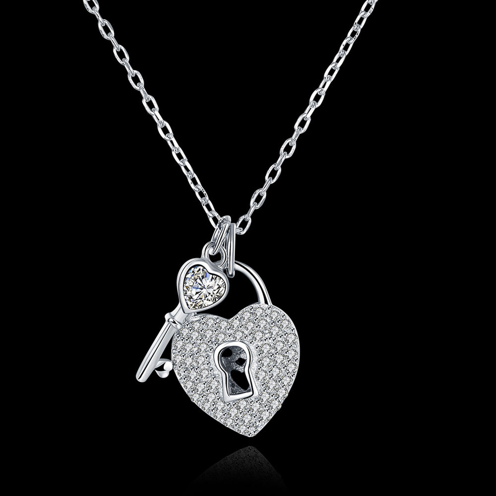 925 Sterling Silver Lock & Key Pendant Necklace - MagCloset