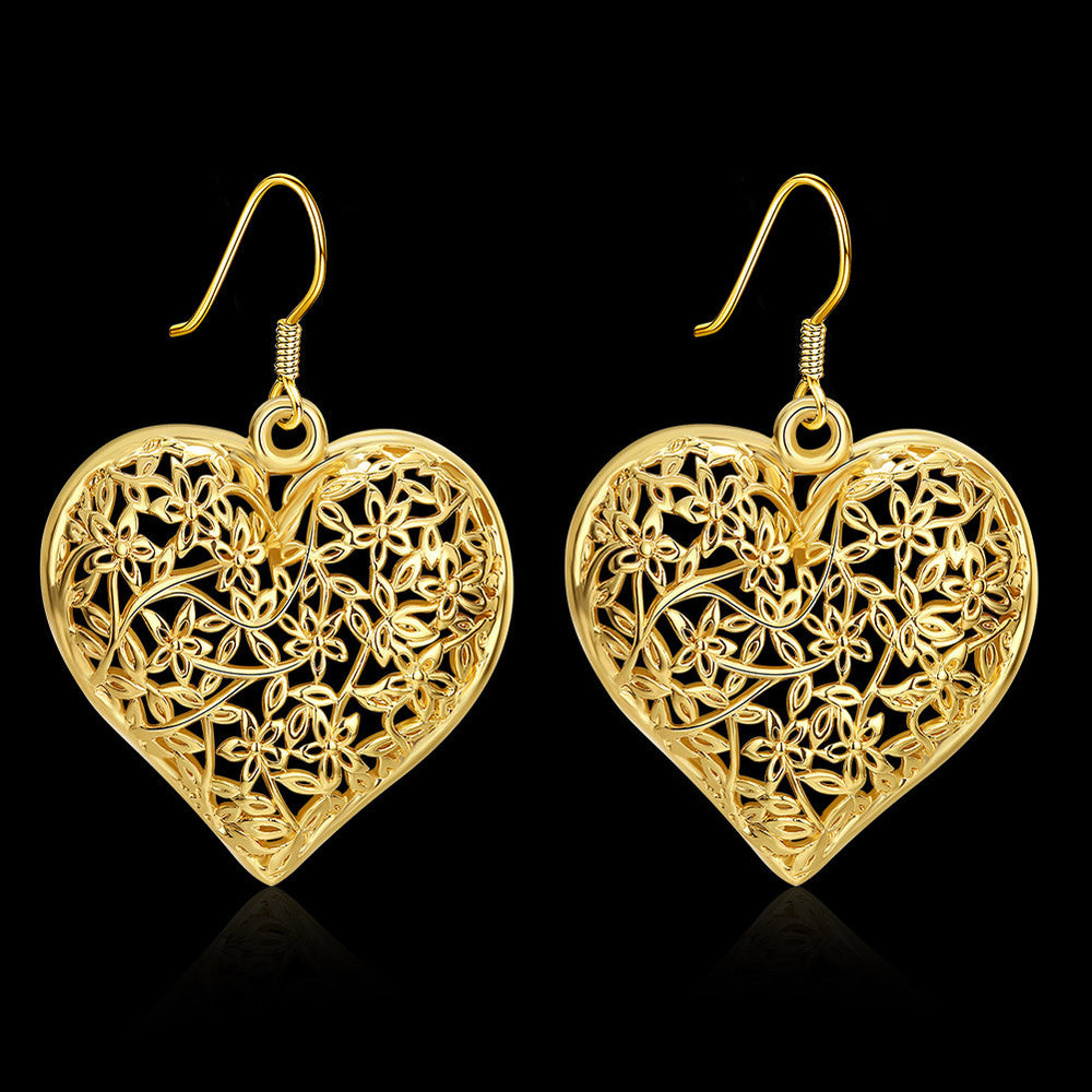 Lastest Fashion 24K Gold Plated Hollow Out Heart-Shaped Earrings - MagCloset
