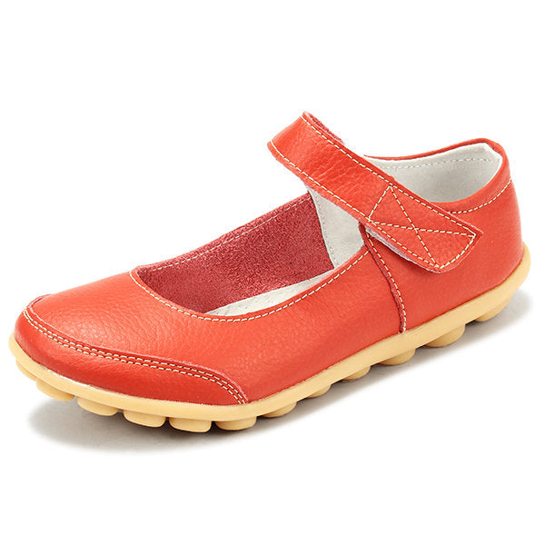 Big Size Hook Loop Pure Color Flat Ballet Soft Comfortable Leather Shoes - MagCloset
