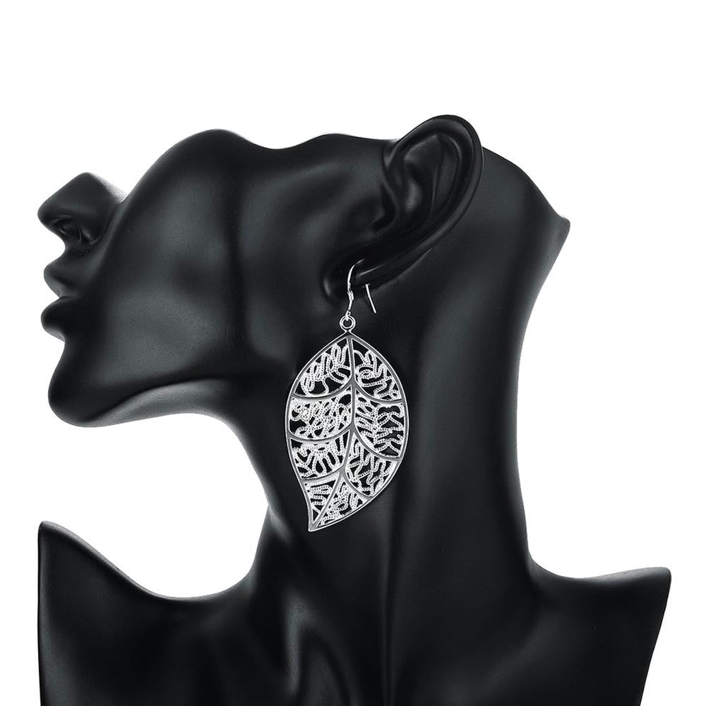 Fashion Hollow Out Leaf Silver Plated Earrings - MagCloset