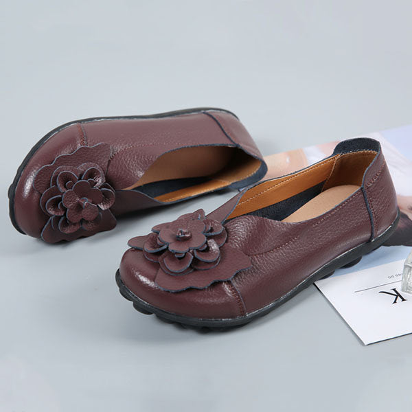 Large Size Flower Leather Lazy Flats