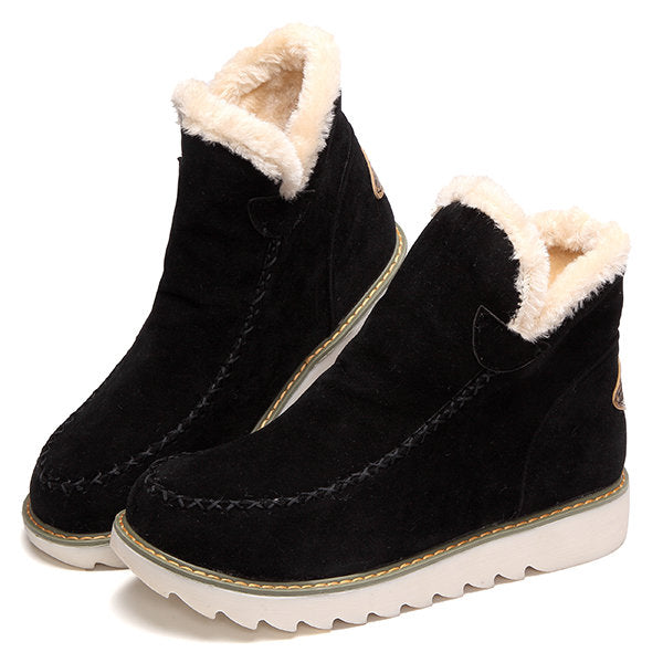 Big Size Warm Fur Lining Ankle Snow Boots For Women - MagCloset