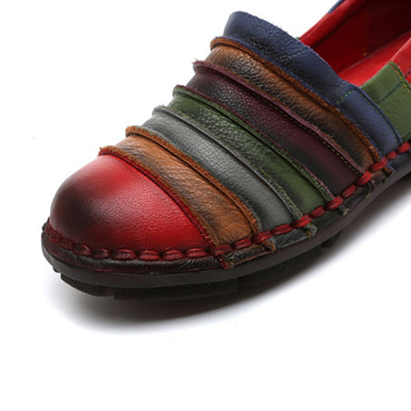 Rainbow Color Genuine Leather Soft Flat Loafers
