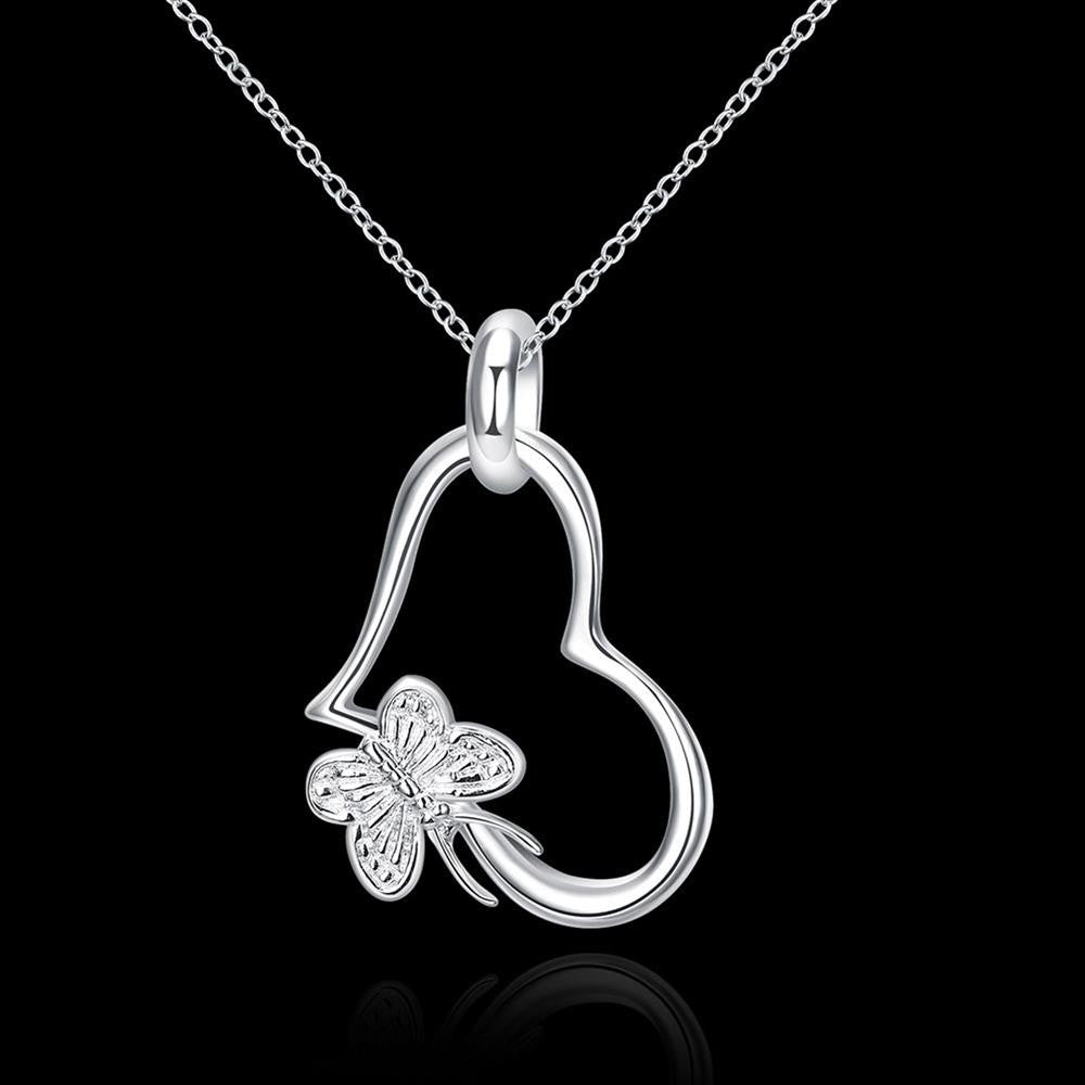 925 Silver Plated Necklace Pendant Heart-Shaped with Butterfly - MagCloset