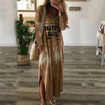 Casual Loose Letter Printed VNeck Long Sleeve Side Split Dress