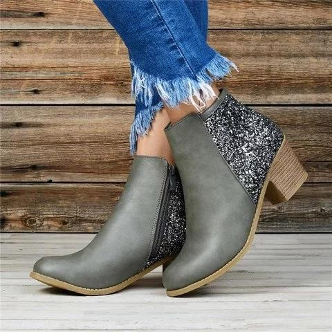 Women Sequined Splicing Chunky Heel Ankle Boots