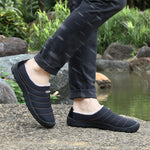 Unisex Plush Lining Waterproof Cloth Slip On Soft Sole Casual Slippers