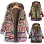 Patchwork Floral Print Hooded Long Sleeve Vintage Coats