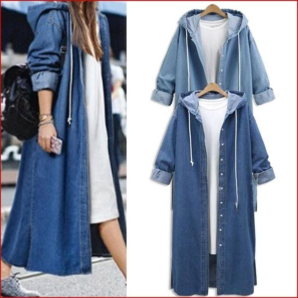 Plus Size Denim Hooded Mid-Long Coats