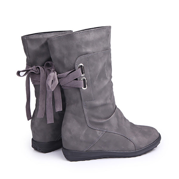 Hidden Wedge Heel Lace-Up Casual Leather Boots