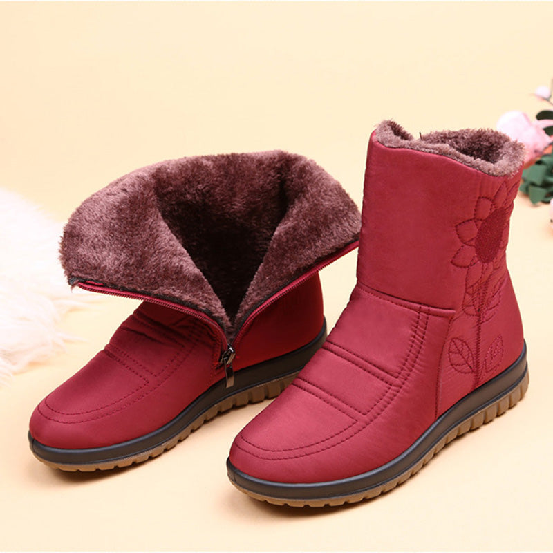 Winter Embroidered Warm Fur Lining Waterproof Lightweight Snow Boots