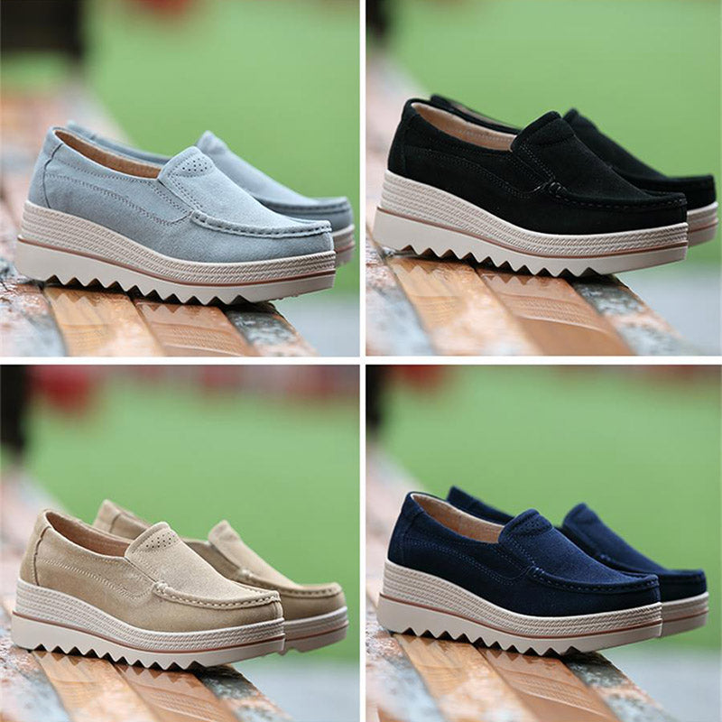 Womens Breathable Cowhide Leather Slip On Platform Shoes