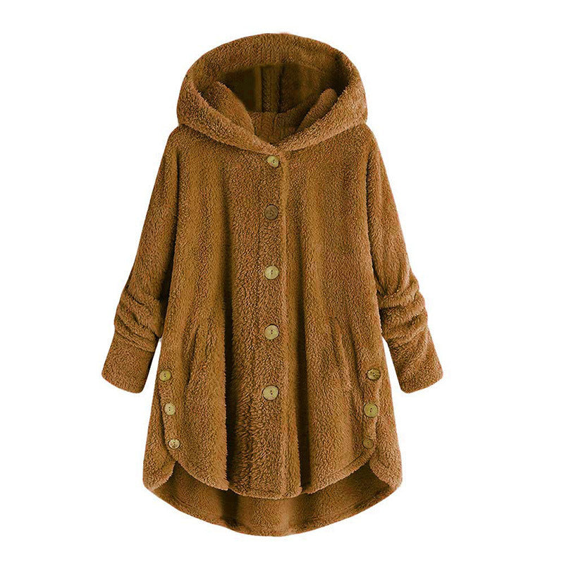 Fleece Hooded Asymmetrical Hem Button Coat - MagCloset