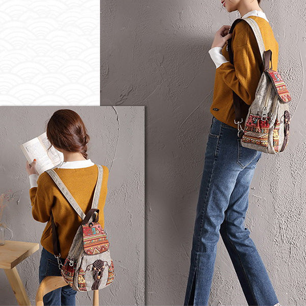 National Style Vintage Canvas Bags Mini Geometrical Printing Backpack