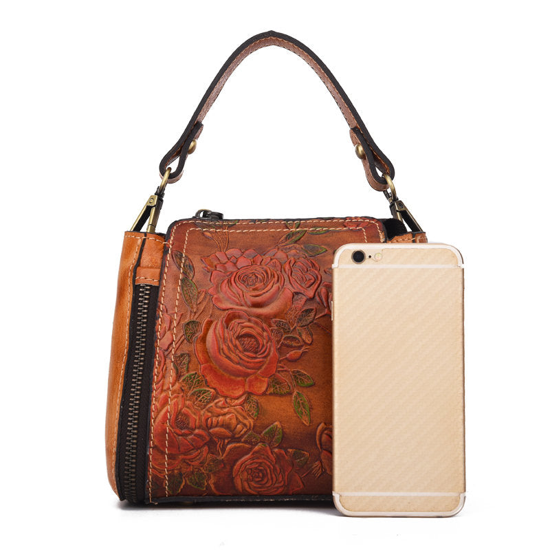 Retro Genuine Leather Bucket Handbag Hand Embossed Craft Flower Crossbody bag