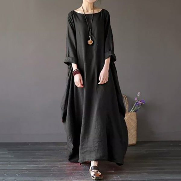 Half Sleeve Round Neck Maxi Dress