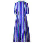Plus Size Button Down Stripes Roll Up Half Sleeve Maxi Dresses