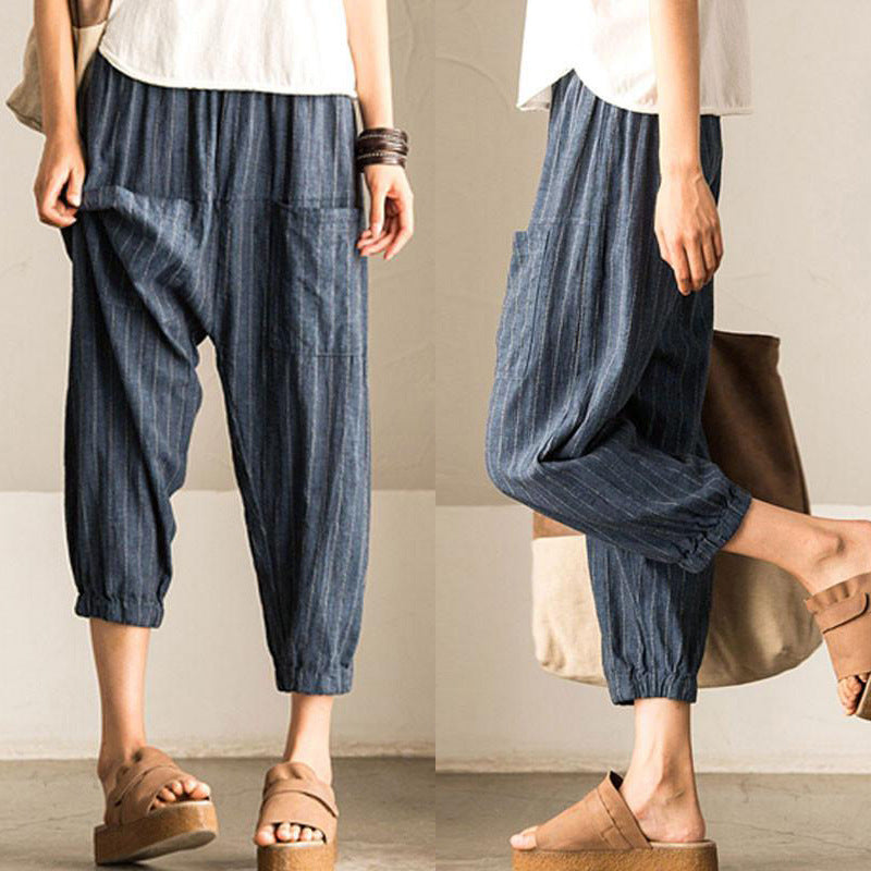Casual Harem Pant Striped Baggy Pant