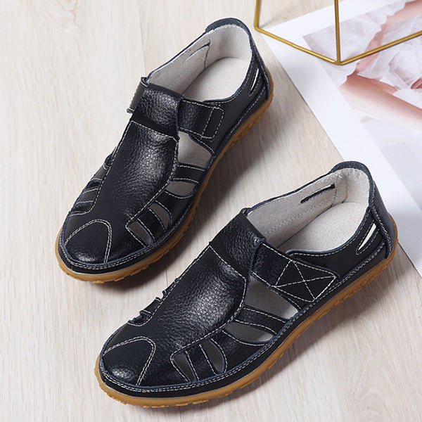 Casual Leather Moccasin Hollow Out Sandals - MagCloset