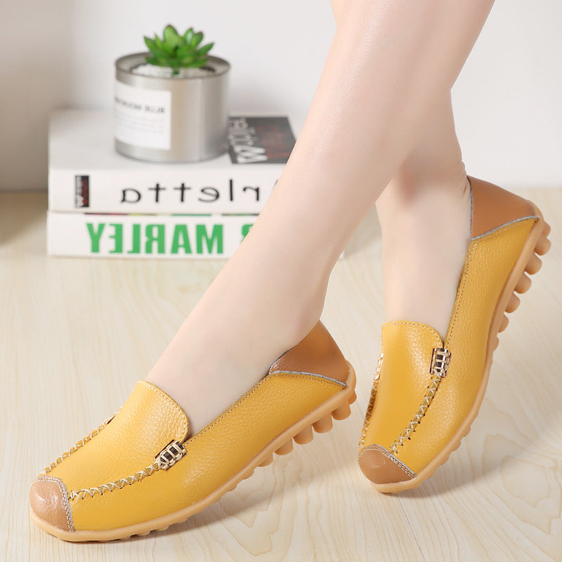 Breathable Color Match Casual Shoes Slip On Flat Loafers