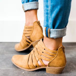 Chunky Heel Hollow-out PU Casual Zipper Boot - MagCloset