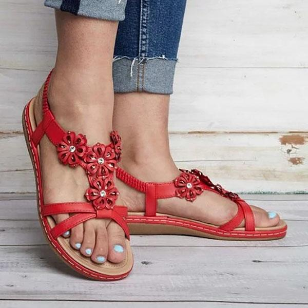 Casual Flowers Slip-On Flat Sandals