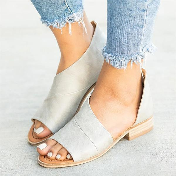 Casual Open Toe Side Hollow Slip-On Sandals - MagCloset