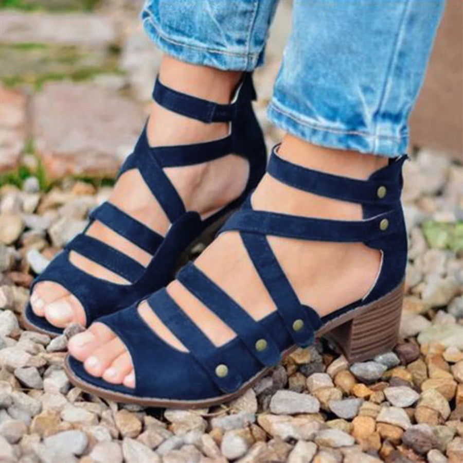 Chunky High Heeled Multi-Strap Sandals