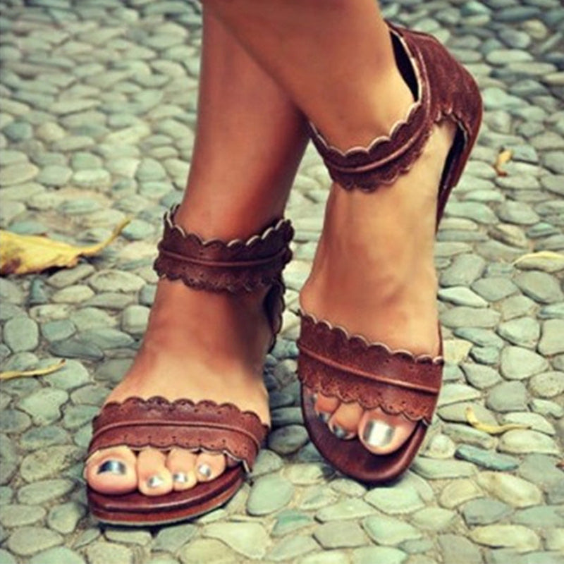 Flat Ankle Strap Peep Toe Casual Sandals