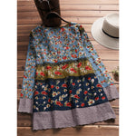Contrasting Color Floral Print Top V-neck T-shirt Blouse skirt - MagCloset