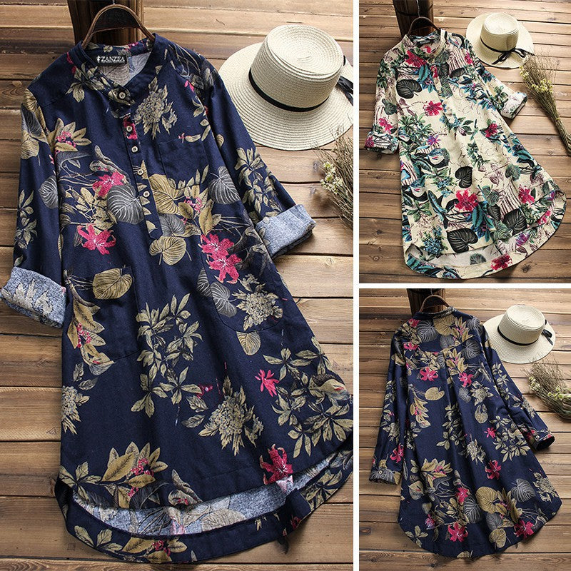 Floral Printed Stand Collar Long Vintage Blouses