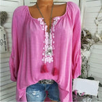 Casual Solid Color Floral V-Neck Blouse - MagCloset