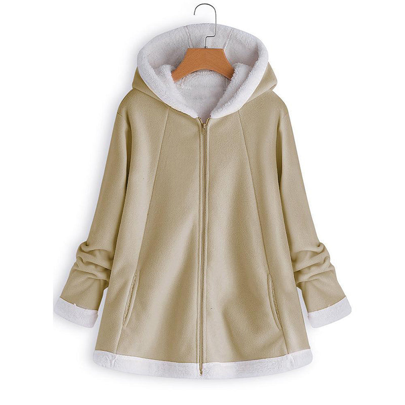 Casual Hooded Zipper Pocket Long Sleeve Fleece Coats - MagCloset