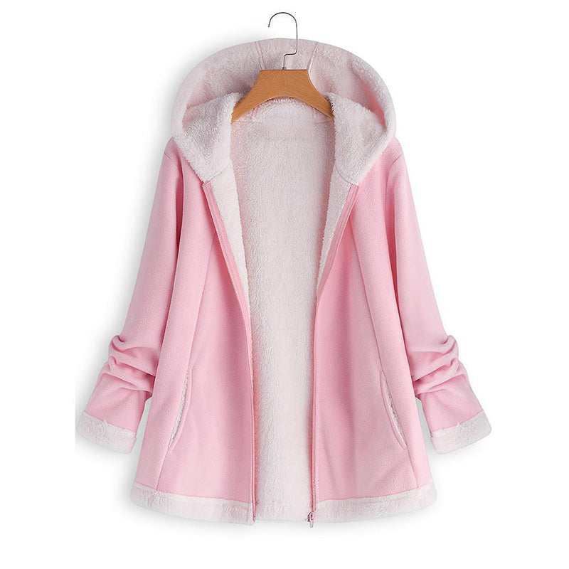 Casual Hooded Zipper Pocket Long Sleeve Fleece Coats
