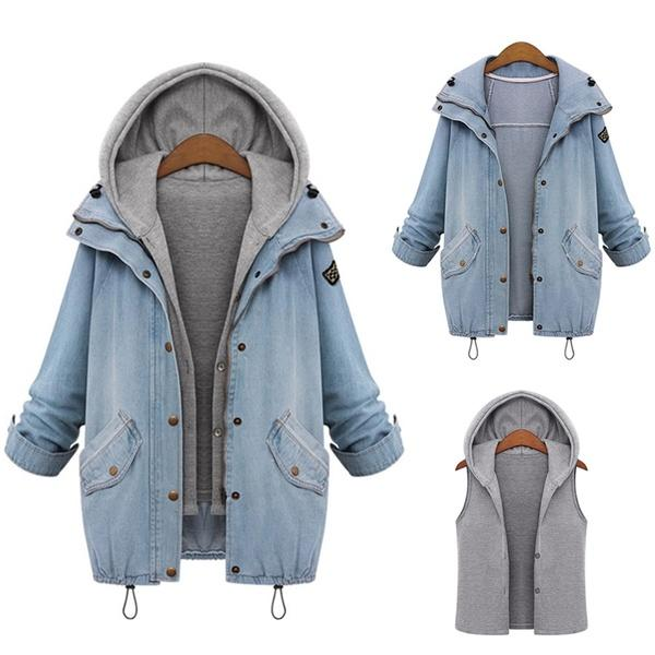 2 Pcs Set Basic Hooded Vest Denim Jacket - MagCloset