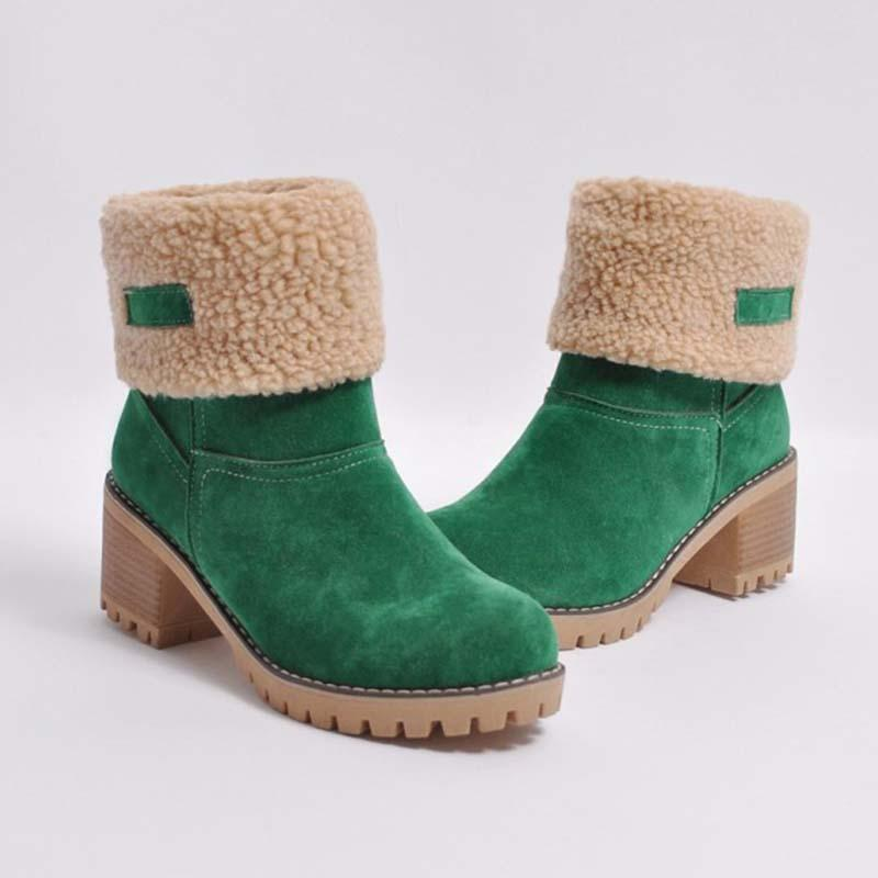 Women Two Ways Wear Warm Square Heels Snow Boots