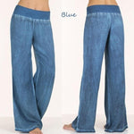 Women Elastic Waist Wide Leg Casual Pants