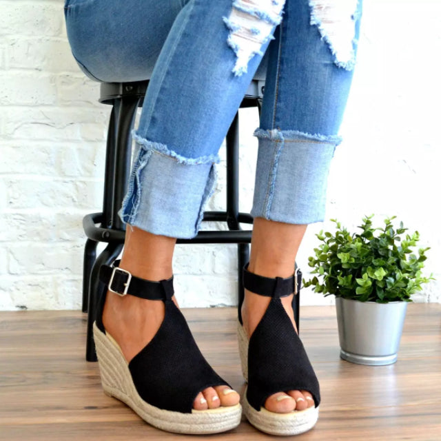 Women Chic Wedges Adjustable Buckle Sandals
