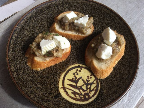 Eggplant puree with goats feta