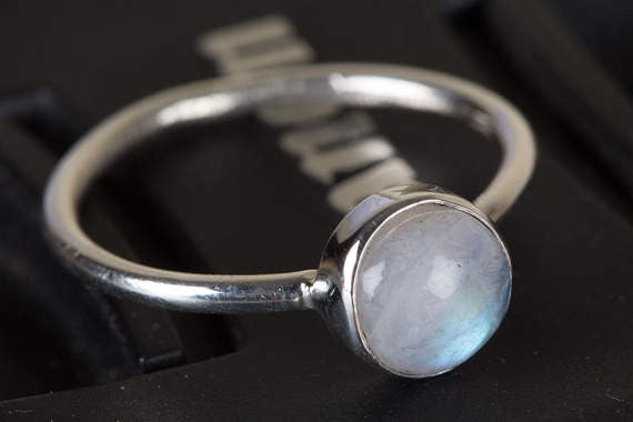 Moonstone Ring, Blue Flash Moonstone Ring , Boho Ring, Round Stone Ring, Healing Ring, Stacking Ring, Sterling Silver Ring, June Birthstone