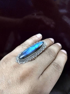 Labradorite Ring, Blue Flash Labradorite Ring, Sterling Silver Ring, Long Ring, Oval Ring, Boho Ring, Healing Ring, Long Labradorite Ring